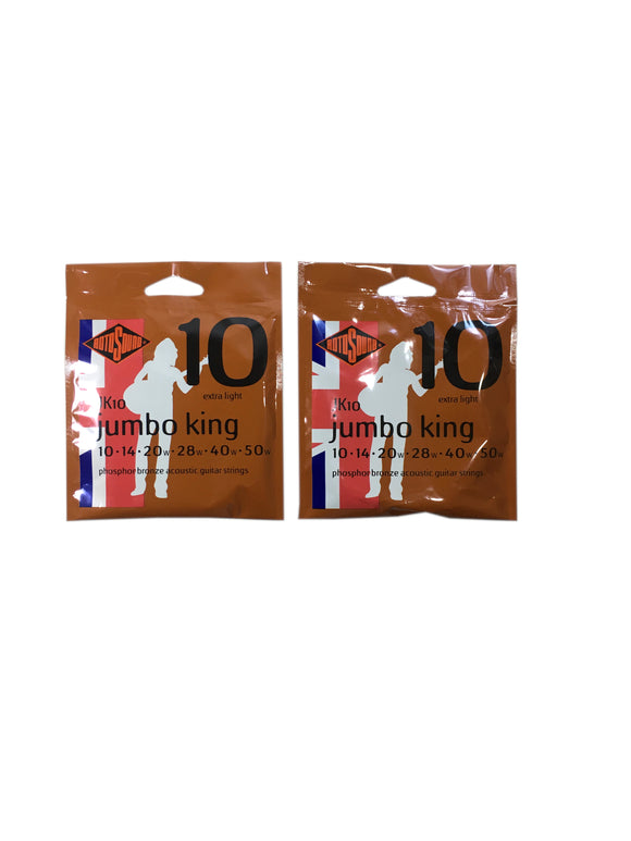 RotoSound Guitar Strings 2 Pack Acoustic Jumbo King Extra Light 10-50 Free Ship.
