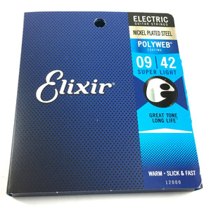 Elixir Guitar Strings  Electric   Polyweb  12000  Super Light   (9-42).
