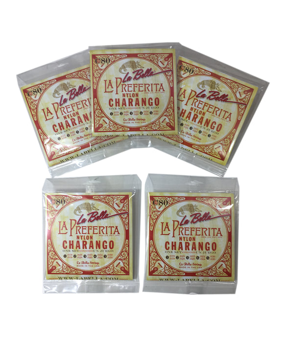 Charango Cuerdas String Set 5-Pack La Bella 5 double String Set Nylon.
