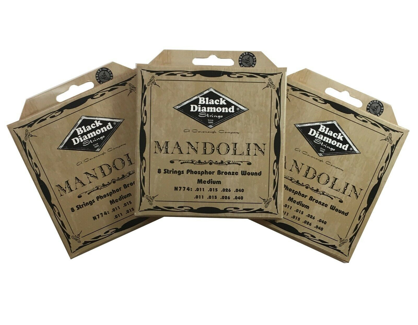 Black Diamond Mandolin Strings 3-Packs Phosphor Bronze Loop End .011-.040.