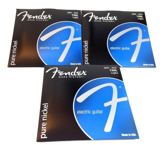 Fender Guitar Strings  3 Sets  150L Pure Nickel Ball End 9-42 Light  Electric