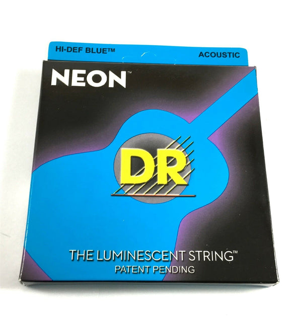 DR Guitar Strings Acoustic Neon Blue Medium 12-54 Luminescent.