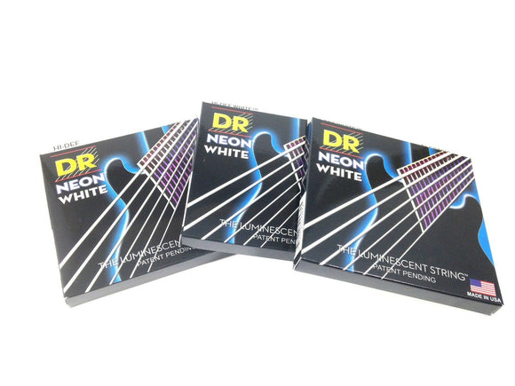 DR Strings Guitar Strings 3 Pack Electric Neon White 09-42 Light