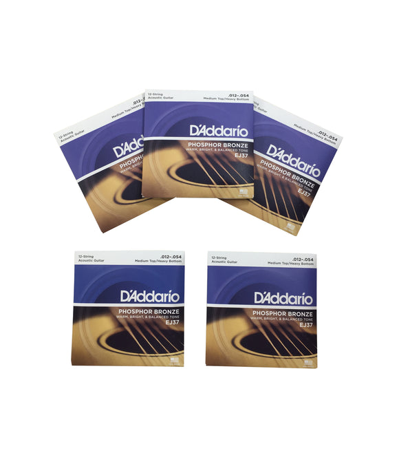 D'addario Guitar Strings 5-Pack EJ37 12-String Bronze Acoustic Medium/Heavy, 12-54.