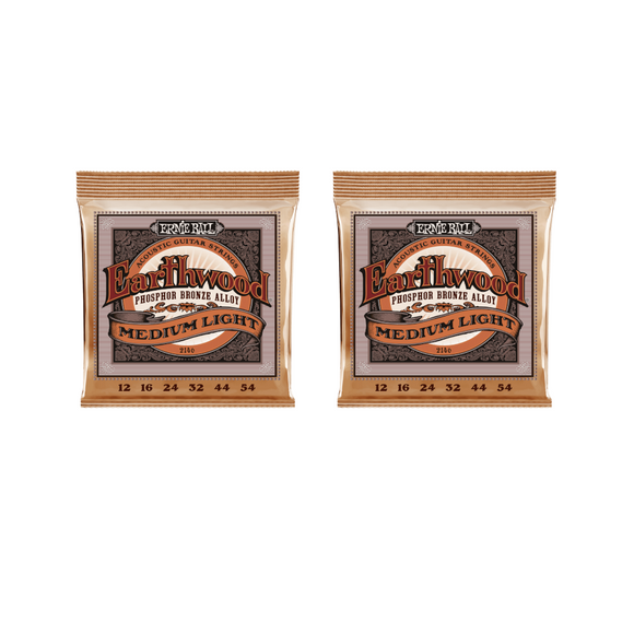 Ernie Ball Guitar Strings 2-Pack Acoustic Earthwood Phosphor Bronze Medium Light 12-54-56