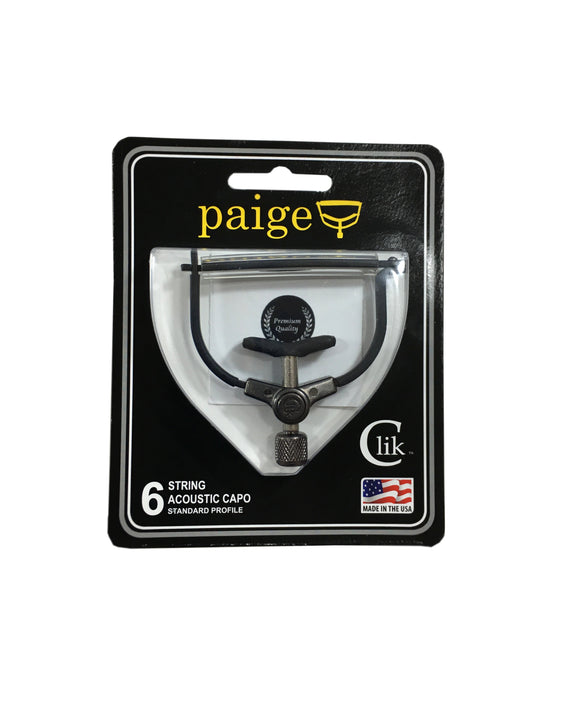 Paige Guitar Capo - Clik - 6 String - Black Acoustic Made in the USA.