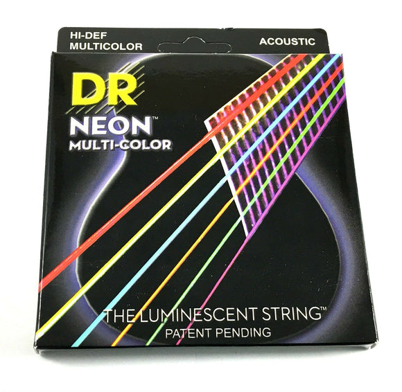 DR Guitar Strings Acoustic Neon Multicolor Lite 10-48 Luminescent.
