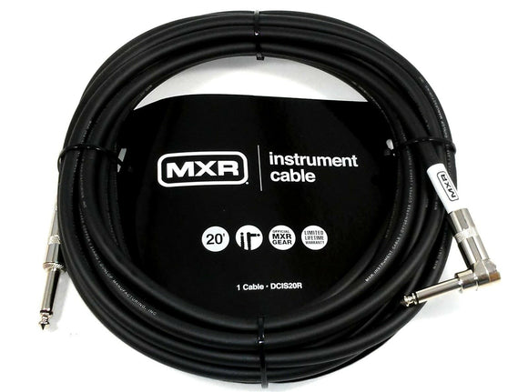 Instrument Guitar Cable  MXR 20 feet (~6m)  Right Angle End Lifetime Warranty.