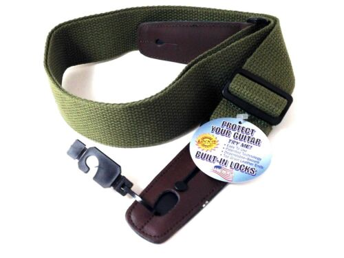 LOCK-IT Guitar Strap  Olive Green Cotton Patented Locking Technology (strap lock