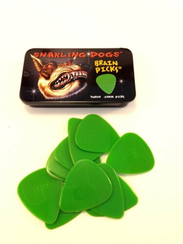 Snarling Dog Guitar Picks Tin  Brain Picks  12 Picks With Tin  .53mm  Green.