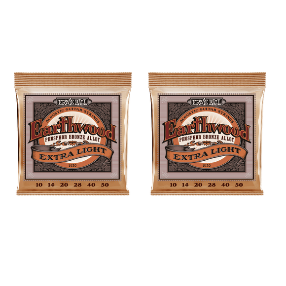 Ernie Ball Guitar Strings 2-Pack Acoustic Earthwood Phosphor Bronze Extra Light 10-50