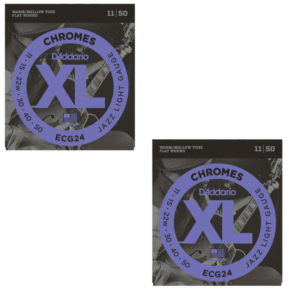 D'Addario Guitar Strings 2-Pack Electric ECG24 Chromes Jazz Light 11-50.