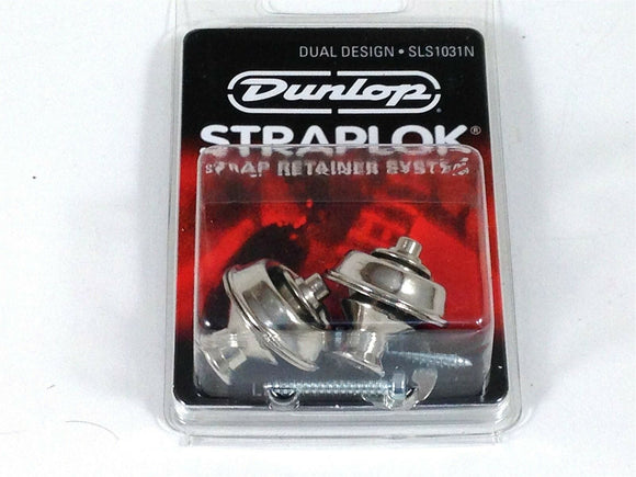 Dunlop Strap Locks - Guitar - Dual Design Strap Retainer System Nickel