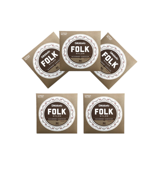 D'Addario Guitar Strings  EJ33  5 Pack  Folk Nylon  Ball End  Bronze Basses