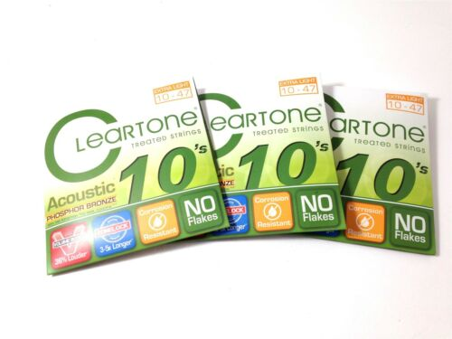 Cleartone Guitar Strings Acoustic 3 Pack Phosphor Bronze  10-47  Super long life