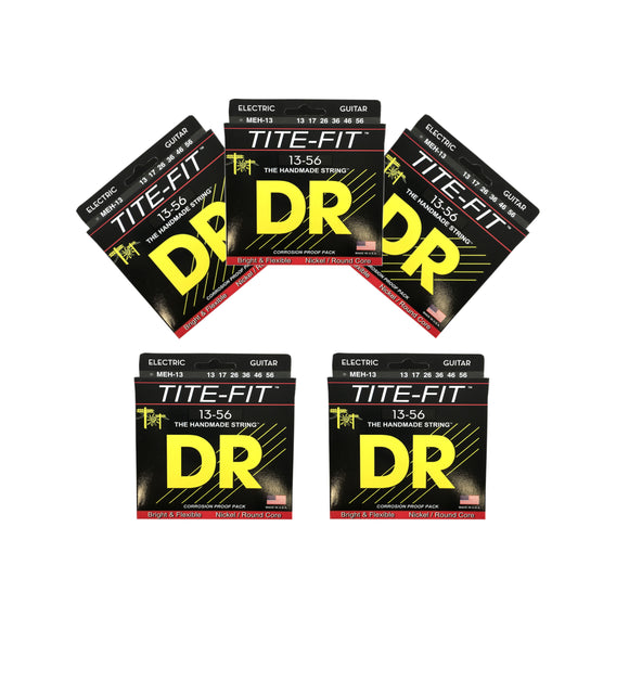 DR Guitar Strings Electric Tite-Fit 5 Pack 13-56 Mega Heavy Handmade USA