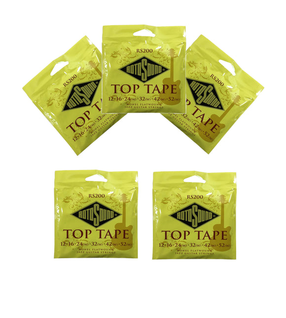 RotoSound Top Tape 5-Pack Monel Flatwound Electric Guitar Strings RS200 12-52