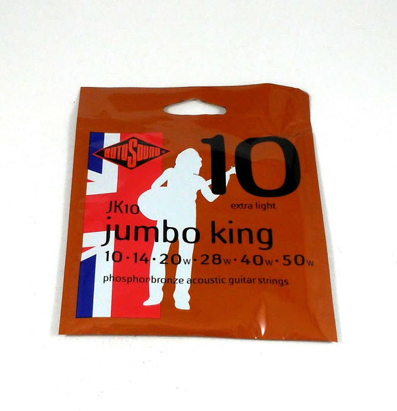 RotoSound Guitar Strings - Acoustic - Jumbo King - 10 Extra Light 10-50 Free Shi