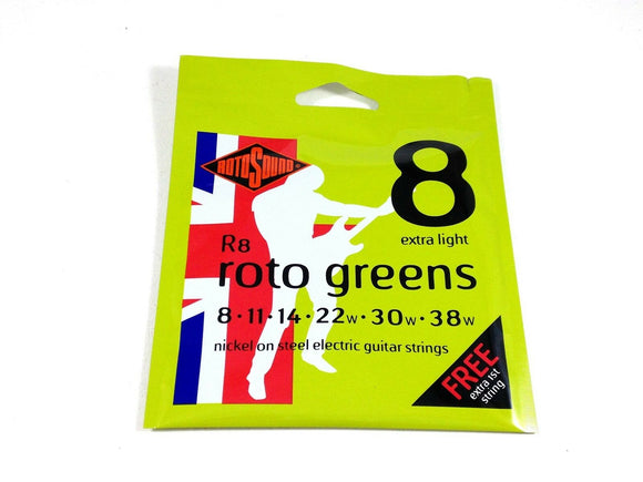 RotoSound Roto Greens Nickel Steel Electric Guitar Strings Extra Light 8-38