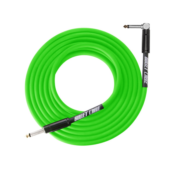 Bullet Cable Instrument Cable Thunder Green Angled End 20' (~6m).
