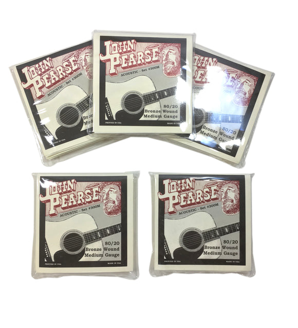 John Pearse Guitar Strings 5-Sets Acoustic 300M Medium Bronze Wound