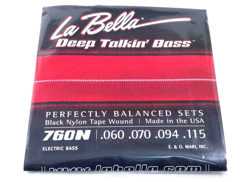 La Bella Bass Strings Deep Talkin' Bass Black Nylon Tape Wound Light.