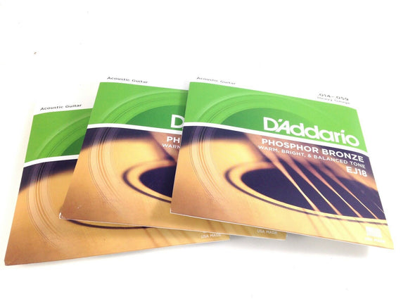 D'Addario Guitar Strings 3 Pack Acoustic EJ18 Heavy