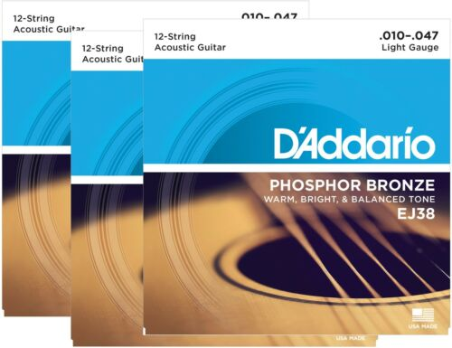 D'Addario Guitar Strings  3 pack  EJ38 12-String  Phosphor Bronze  Acoustic
