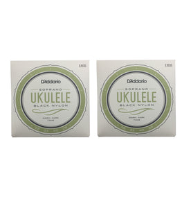 D'Addario Ukulele Strings  Black Nylon  EJ53S 2 Pack Uke Soprano Rectified