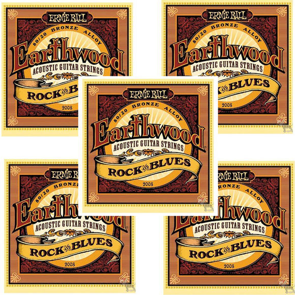 Ernie Ball Guitar Strings 5-Pack Acoustic Earthwood Rock & Blues 10-52 2008