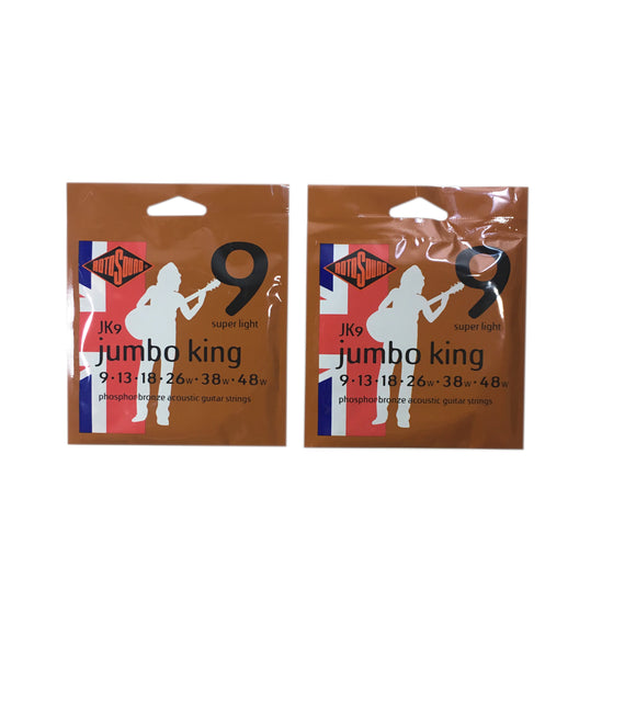 RotoSound Guitar Strings  2-Pack  Acoustic - Jumbo King - 9 Super Light 9-48 Free Ship.