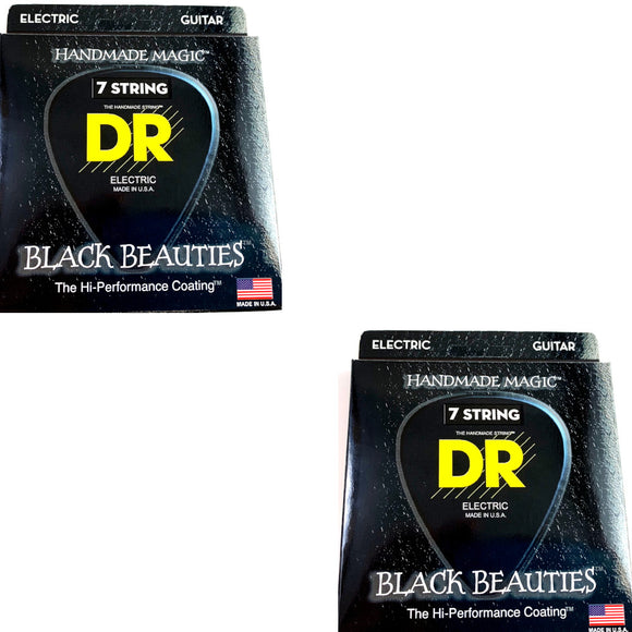 DR Guitar Strings 7-String Electric 2-Pack K3 Black Beauties Coated 11-60.