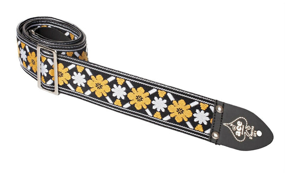 Ace Guitar Strap  Vintage Style  Yellow and White Flowers Lennon Rooftop