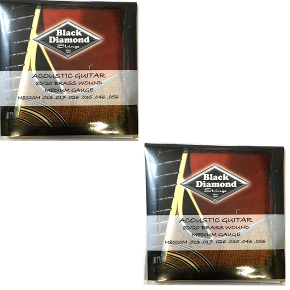 Black Diamond Guitar Strings 2-Pack Acoustic Medium Brass Wound 13-56