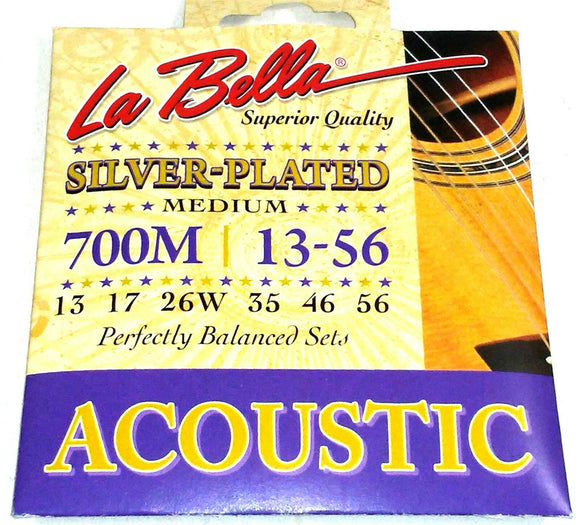 La Bella Guitar Strings Acoustic Silver Plated Medium 13-56 Crisp Tone