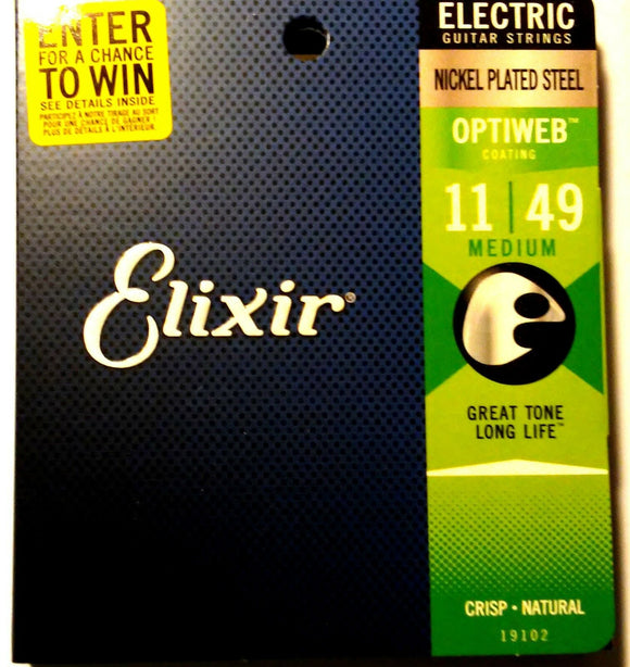 Elixir Guitar Strings Optiweb Electric Medium 11-49 Great Tone - Long LIfe