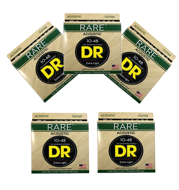 DR Guitar Strings 5 Pack Acoustic RARE Phosphor Bronze Hex Cores RPL-10 10-48