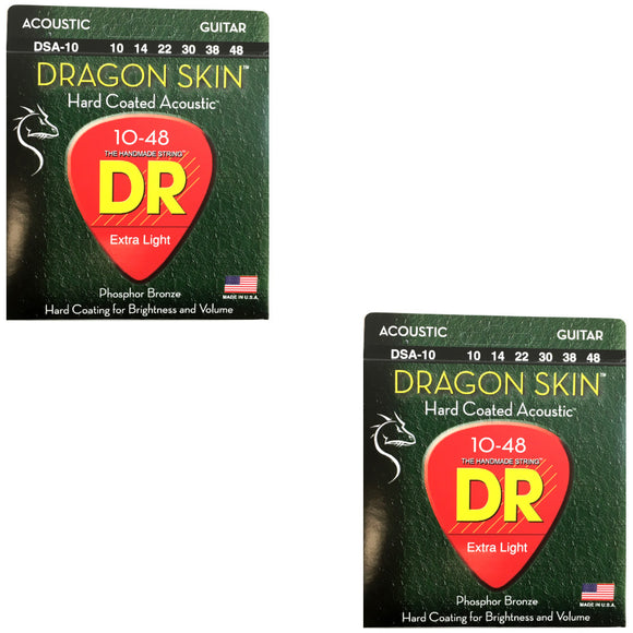 DR Guitar Strings 2-Pack  Acoustic Dragon Skin 10-48 Extra Light
