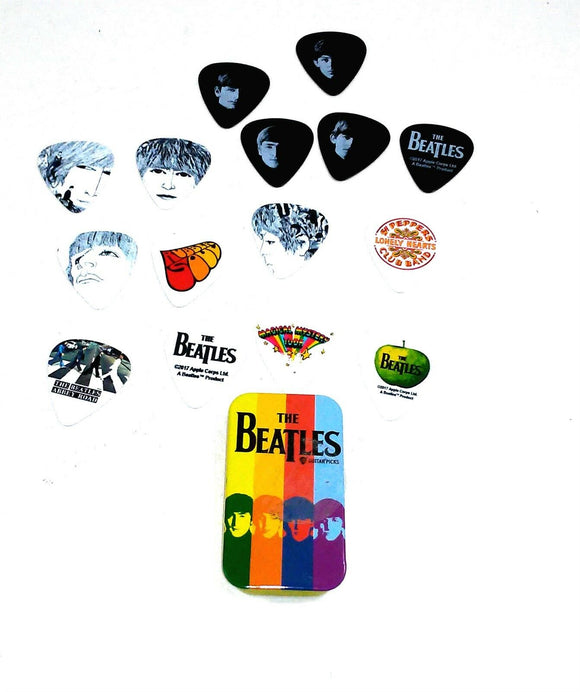 Beatles Guitar Picks Signature Series Stripes Planet Waves Pick Tin 15 Picks.