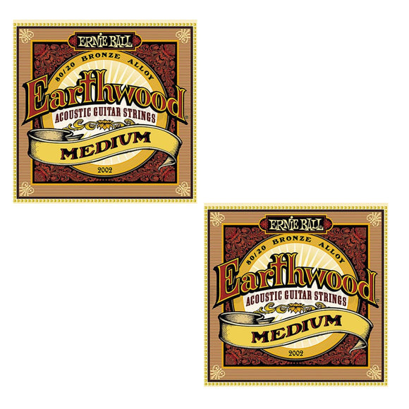Ernie Ball Guitar Strings 2-Pack Acoustic Earthwood Medium 13-56 2002