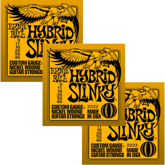 Ernie Ball Guitar Strings 3-Pack Hybrid Slinky Electric 9-46 Nickel Wound.
