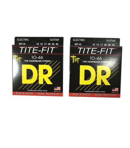 DR Guitar Strings 2-Pack Electric Tite-Fit 10-46 Medium Handmade USA.