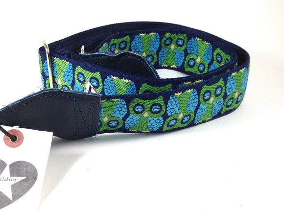 Souldier Guitar Strap (soldier) - Owls Green / Navy - Handmade - Fabric Wilco