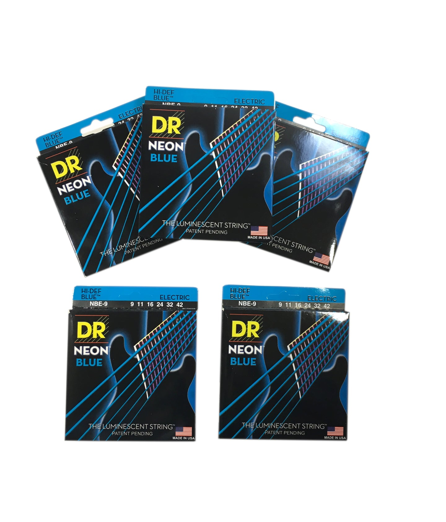 DR Guitar Strings 5 Pack Electric Neon Blue 09-42 Light.