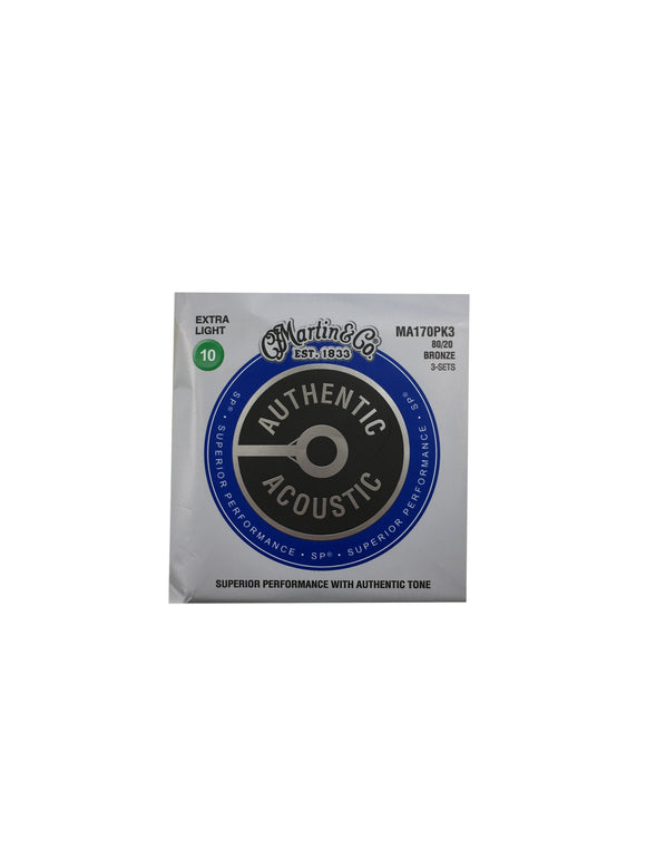 Martin Guitar Strings - 3-Pack - Acoustic - Extra Light - 80/20 Bronze MA170