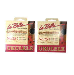 La Bella Ukulele Strings 2 Packs Baritone No. 25 Nylon, Alum, & Silver 028-032-038w-036w.