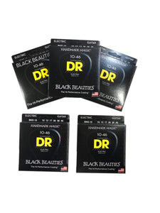 DR Guitar Strings Electric 5-Pack K3 Black Beauties High Performance Coated 10-46.