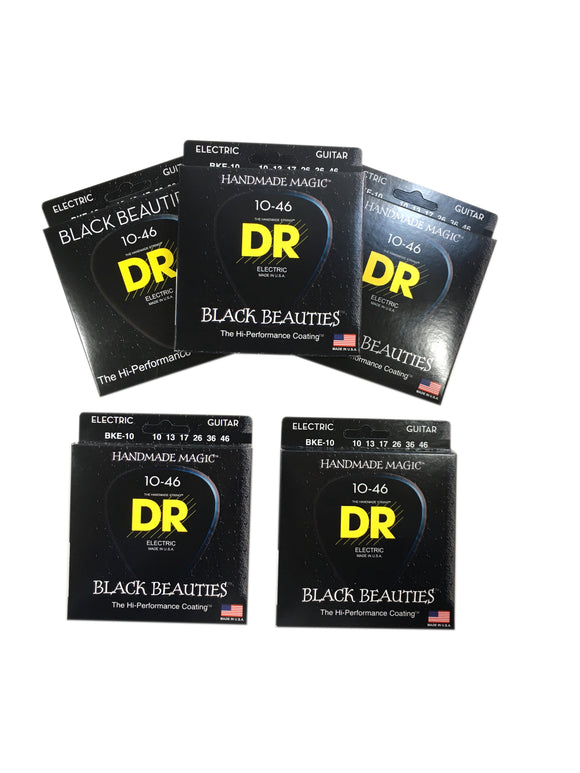 DR Guitar Strings Electric 5-Pack K3 Black Beauties High Performance Coated 10-46