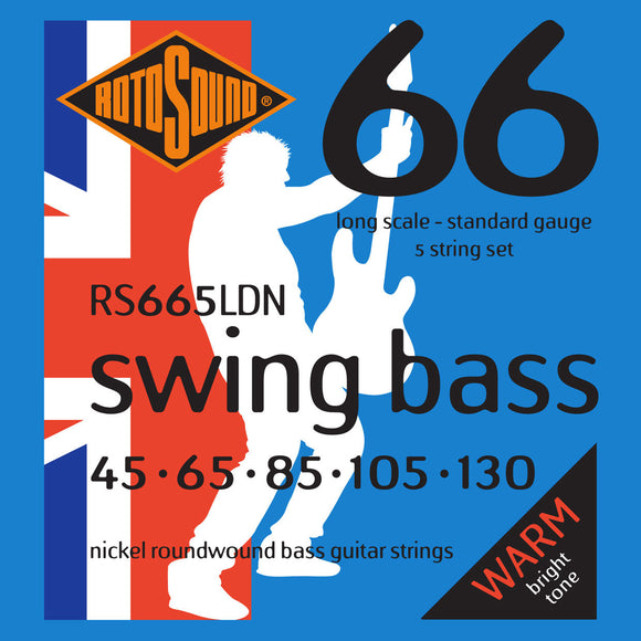 RotoSound Bass Guitar Strings 5 String Swing RS665LDN Nickel Roundwound.