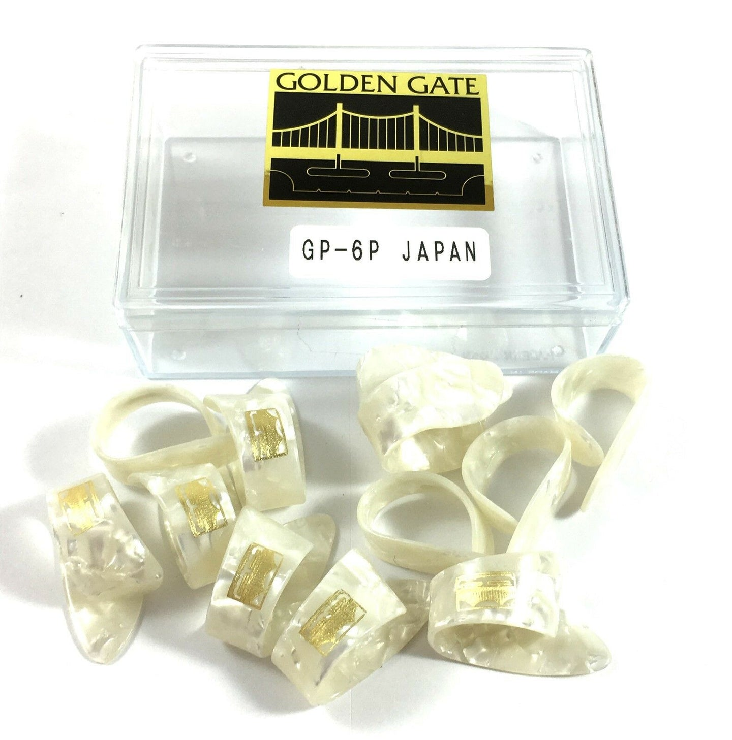 Golden Gate Thumb Picks  12 Pack  Pearloid  Guitar or Banjo  Large  White.